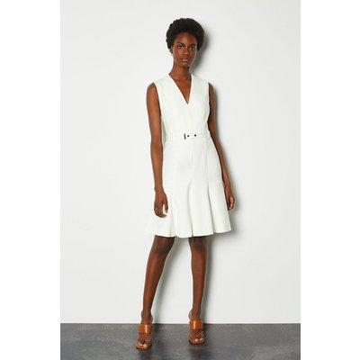 Karen Millen Sleeveless Belted Flippy Hem Dress, Ivory