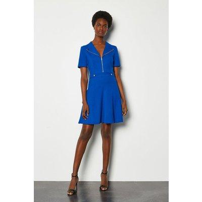 Karen Millen Zip Placket Short Sleeve A-Line Dress, Blue