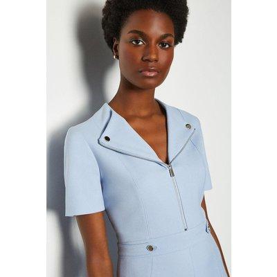 Karen Millen Zip Placket Short Sleeve A-Line Dress, Pale Blue