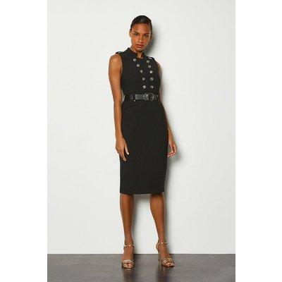 Karen Millen Tailored Button Military Dress, Black