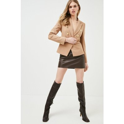 Karen Millen Tailored Button Military Blazer -, Camel