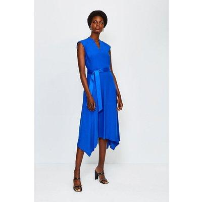 Karen Millen Notch Neck Sleeveless Crepe Midi Dress, Blue