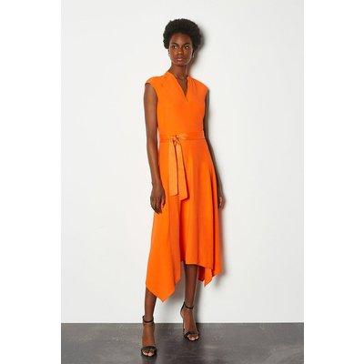 Karen Millen Notch Neck Sleeveless Crepe Midi Dress, Orange