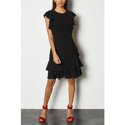 Karen Millen Frill Sleeve Hem Dress, Black