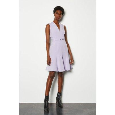 Karen Millen Sleeveless Belted Flippy Hem Dress, Lilac