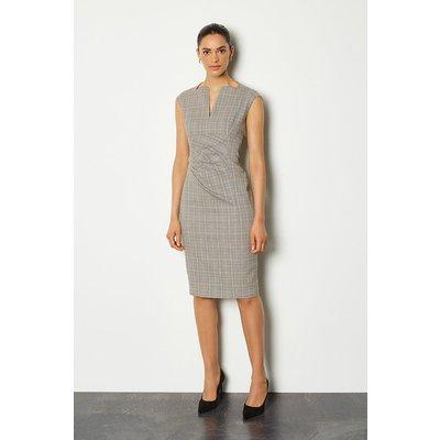 Karen Millen Check Envelope Sleeveless Midi Pencil Dress, Grey