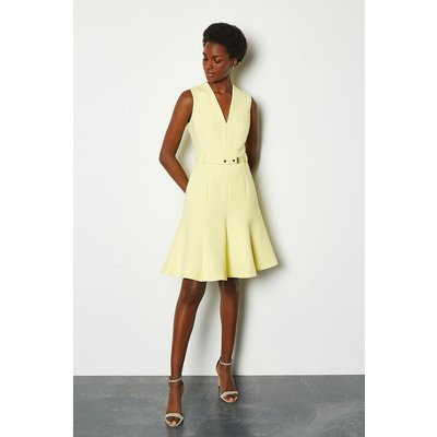 Karen Millen Sleeveless Belted Flippy Hem Dress, Yellow