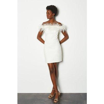 Karen Millen Feather Bardot Dress, Ivory