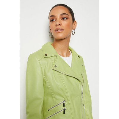 Karen Millen Leather Signature Biker Jacket, Green
