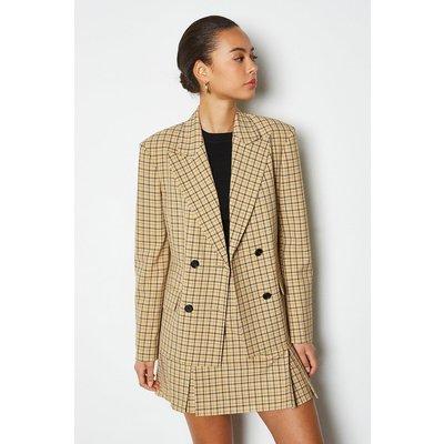 Karen Millen Shadow Check Double Breasted Jacket, Yellow