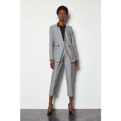 Karen Millen Luxe Silk Stretch Blend Tailored Jacket, Mono