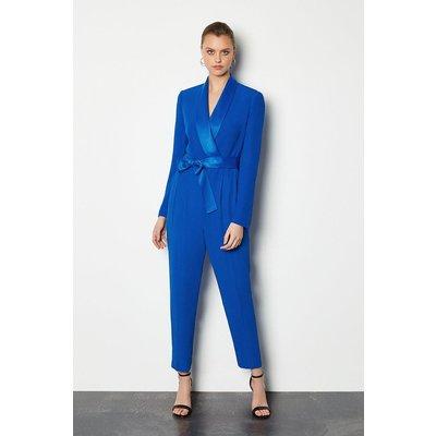 Tuxedo Wrap Jumpsuit Blue, Blue