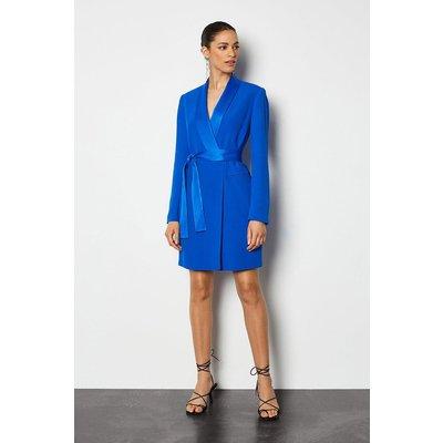 Tuxedo Wrap Dress Blue, Blue
