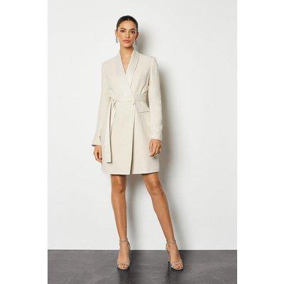 Karen Millen Tuxedo Wrap Dress, Natural