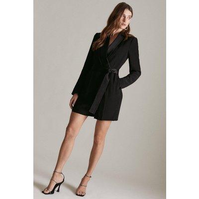 Karen Millen Tuxedo Wrap Playsuit, Black