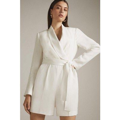 Karen Millen Tuxedo Wrap Playsuit, Ivory