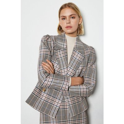 Karen Millen Spring Check Double Breasted Jacket, Multi