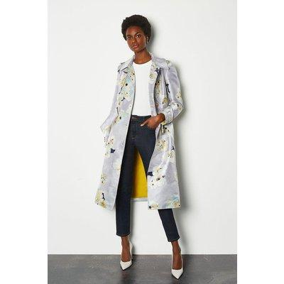 Karen Millen Watercolour Belted Trench Coat, Floral