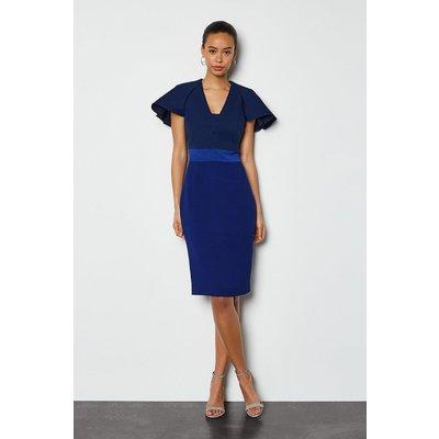 Karen Millen Colour Block Sculptured Sleeve Dress, Navy