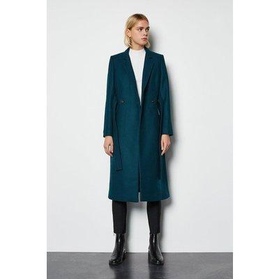 Cashmere Blend Belted Coat Blue, Blue