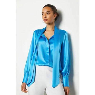 Bow Silk Blouse Blue, Blue