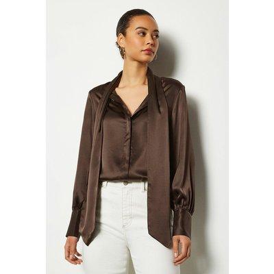 Bow Silk Blouse Brown, Brown
