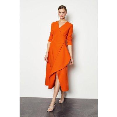 Karen Millen Long Sleeve Waterfall Tailored Dress, Orange