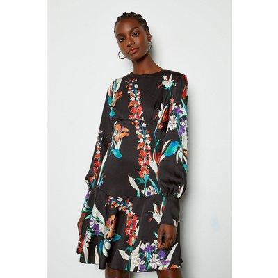 Karen Millen Watercolour Floral Short Dress, Black
