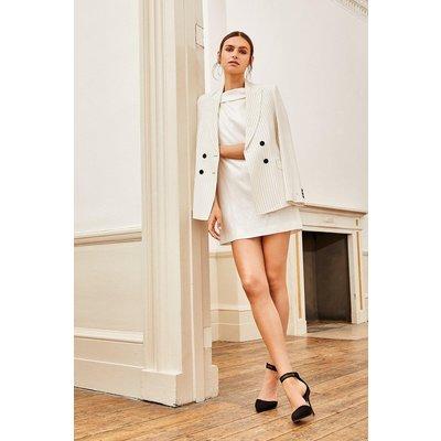 Karen Millen Summer Stripe Double Breasted Jacket, Ivory