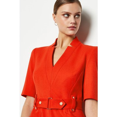Forever Cinch Waist Pencil Dress Red, Red