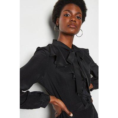 Karen Millen Long Ruffle Silk Shirt Dress, Black