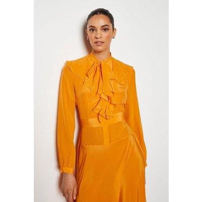 Karen Millen Long Ruffle Silk Shirt Dress, Orange