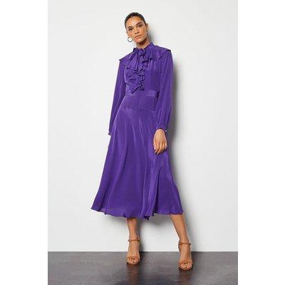 Karen Millen Long Ruffle Silk Shirt Dress, Purple
