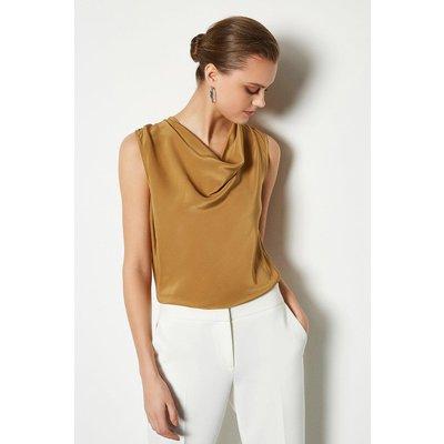 Karen Millen Silk Cowl Neck Top, Camel