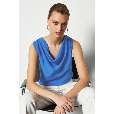 Karen Millen Silk Cowl Neck Top, Blue