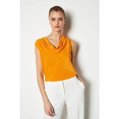 Karen Millen Silk Cowl Neck Top Flame, Orange