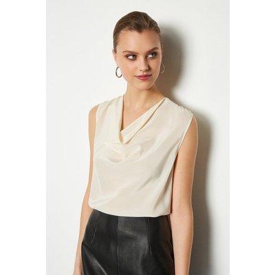 Karen Millen Silk Cowl Neck Top, Ivory