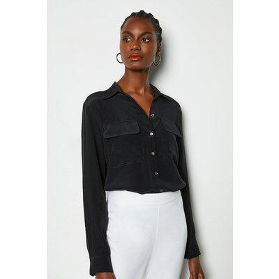 Silk Double Pocket Blouse Black, Black