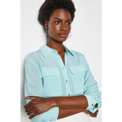 Karen Millen Silk Double Pocket Blouse, Pale Blue