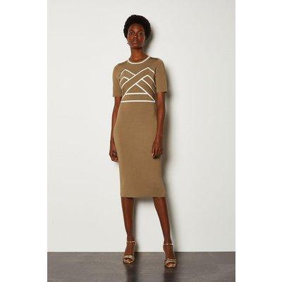 Karen Millen Bold Contrast Stripe Bandage Dress, Camel