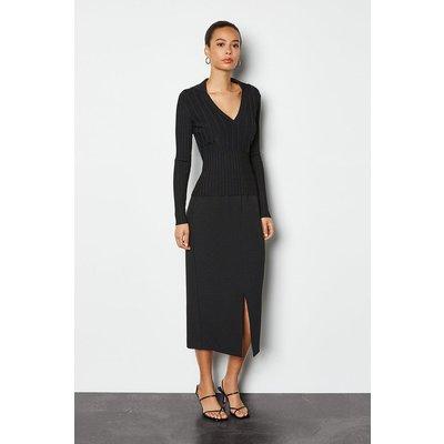 Tailored Track Midi Skirt Black, Black