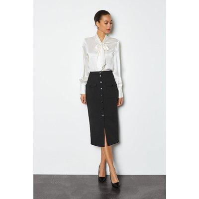 Popper Front Pencil Skirt Black, Black