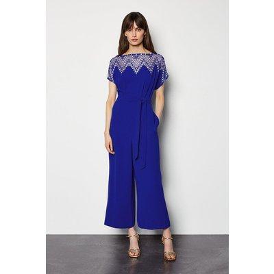 Diamond Lace Jumpsuit Blue, Blue