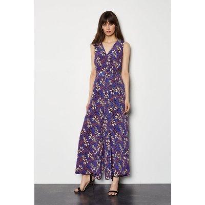 Karen Millen Foxglove Floral On SIlk Jumpsuit, Blue