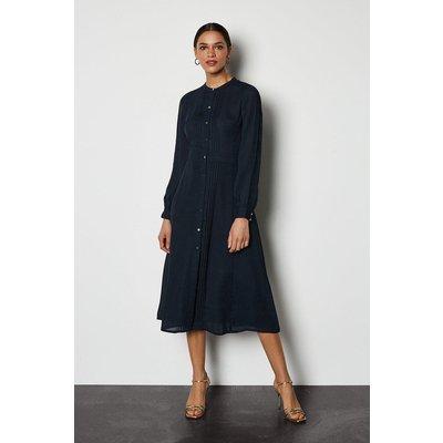 Pin Tuck & Broiderie Midi Shirt Dress Navy, Navy