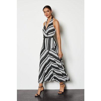 Striped Halter Sundress Blackwhite, Blackwhite