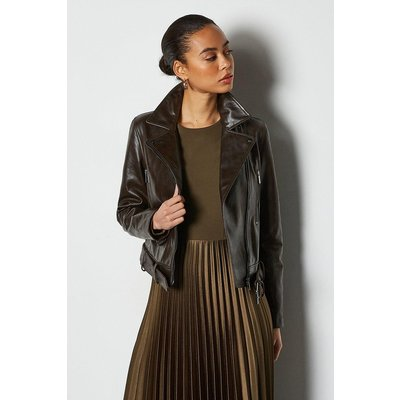 Glossy Belted Leather Biker Jacket Brown, Brown