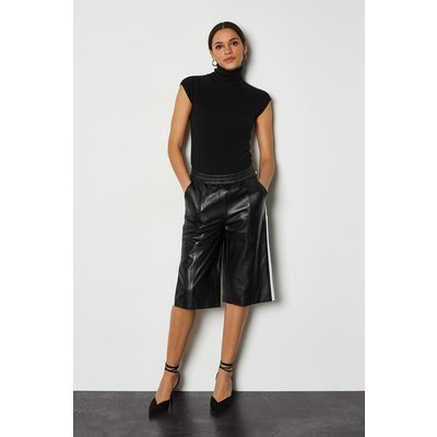 Karen Millen Leather Colourblock Culotte, Blackwhite