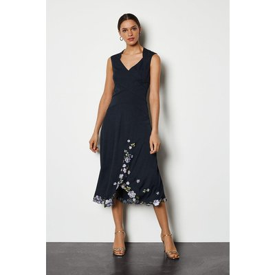 Scattered Floral Embroidered Dress Navy, Navy