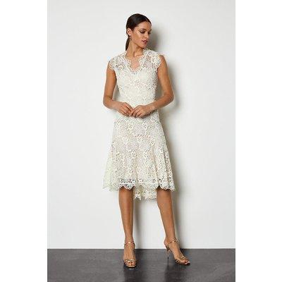Lace Knee Length Dress Natural, Natural